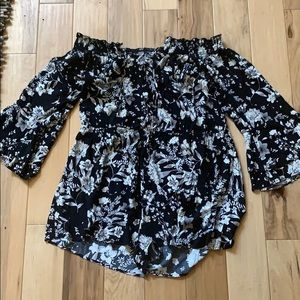 Black and white floral plus size romper